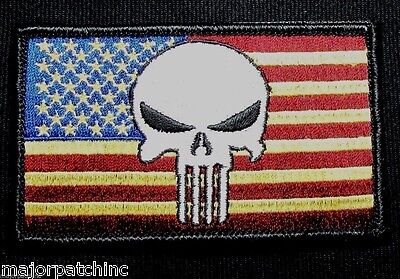 USA PUNISHER US FLAG ARMY USA MILITARY ISAF SEALS MORALE FULL COLOR VELCRO PATCH
