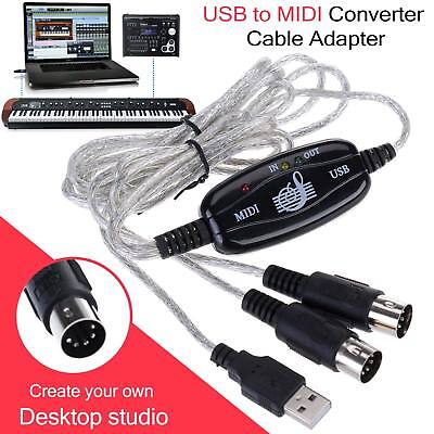 USB to Midi Interface Piano Music Keyboard Cable Adapter Converter PC Laptop