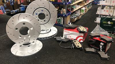 Audi A3 2.0 140 8P Brembo Drilled Grooved Brake Discs Brembo Pads Front Rear