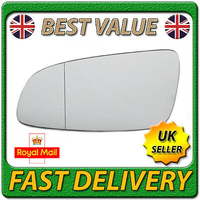 Left Passenger Wide Angle Wing Mirror Glass for VAUXHALL ASTRA H mk5 2004-2008