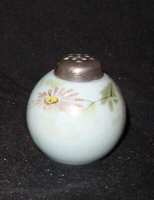 EAPG Short Sphere salt or pepper shaker; opaque blue milk w/ painted decor