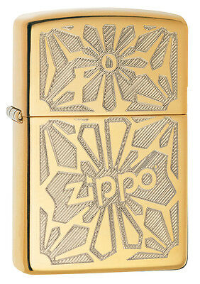 Zippo Windproof High Polished Brass LIghter With Design,  28450, New In Box