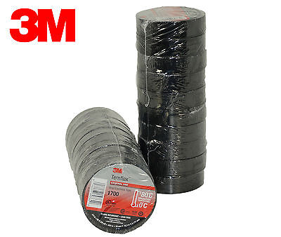 "3M Black Electrical Tape Temflex 1700 3/4"" X 60 Ft 20 Rolls Fast Free Shipping"