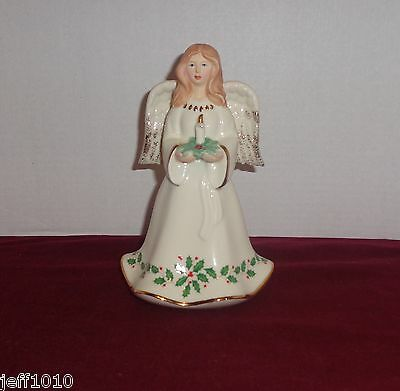 Lenox Angel  HOLIDAY HOLY NIGHT  Holly & Berries Candle & Dove Candy Dish