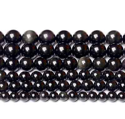 6-14mm Wholesale Natural Rainbow obsidian eyes Gemstone Round Spacer Loose Beads