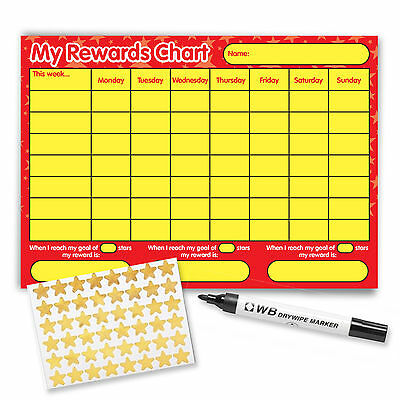 A4 Red Yellow Behaviour Reusable Reward Chart with free stickers, stars and pen