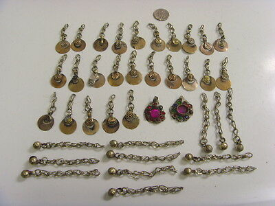 39 antique kuchi tribal nomads pendants components lot bellydance ats larp fv771