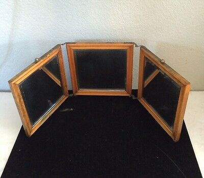 VINTAGE  Folding 3 Way Gentleman's Travel Mirror Very Old