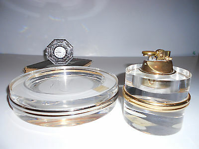 Gorgeous Mid Century Thick Lucite Cigarette Lighter, Huge Ashtray Thorpe Era