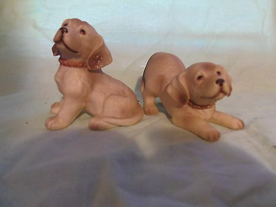 Pair (2) HOMCO Porcelain Yellow Labrador Retriver Puppies Sitting / Laying MINT