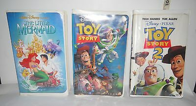 Vintage Set of 3 VHS Video's Disney's  The Little Mermaid, and  Toy Story 1 & 2