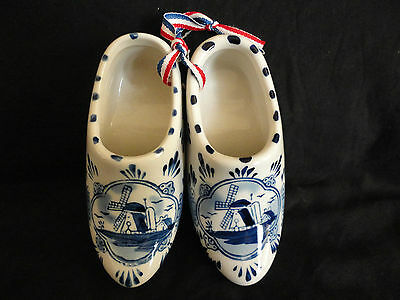Handpainted Ceramic Delft Colgs, Windmill Design, Blue and White, Signed
