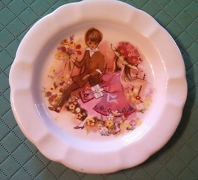 Vintage French porcelain trinket pin dish Chauvigny  F D