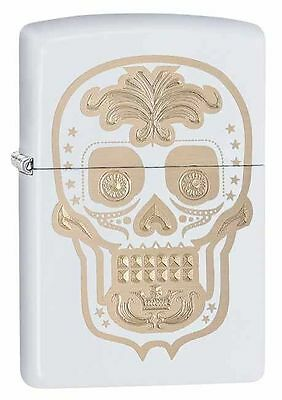 Zippo Windproof White Sugar Skull Lighter, # 28792, New In Box