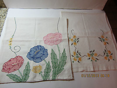 2 Vintage Hand Embroidered Table/Dresser Runners/Scarves
