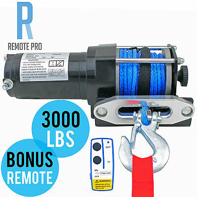 12V 3000LB / 3000LBS / 1360KG Electric Winch 10M Synthetic Rope ATV 4WD BOAT 4X4