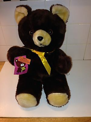 """Vintage Teddy Bear Plush Brown Yellow Cuddle Wit w/ Ribbon &Tags 18"""" Made In USA"""