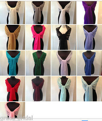 CHIFFON WRAP STOLE SHAWL WEDDING PROM CRUISE MOTHER *ASS.COL.**free samples**