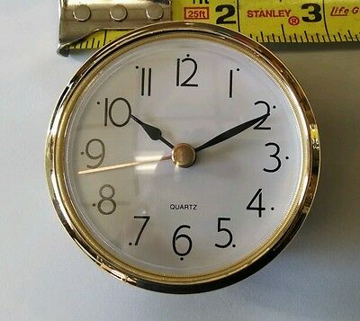 "CLOCK FIT UP White Dial, easy to read arabic, Insert 2 7/8"" dia, NEW, (#272)"