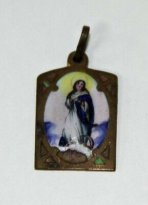 SPANISH MEDAL VIRGIN MARY. ENAMEL AND COPPER. SOME LACKS. EARLY 20th CENTURY