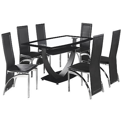 Black & Clear Glass Dining Table and Chair Set with 6 Leather Seats