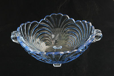 Htf Cambridge Glass Caprice Moonlight Blue # 64 4 Footed Cupped Bowl Elegant