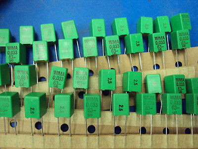25-PCS  WIMA FKP-2 0.033  63V   Metalized Polyester Tube Amp Amplifier Capacitor