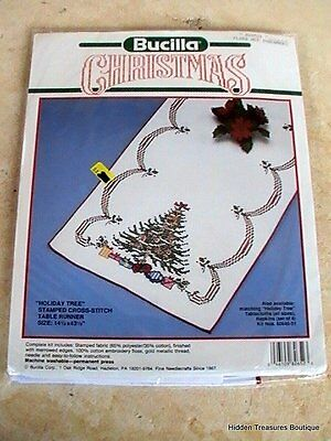 """Bucilla Christmas """"Holiday Tree"""" Stamped Cross-Stitch Table Runner Sealed"""