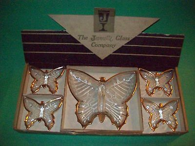 VTG Jeannette Glass Butterfly Candy & Nut Dishes~ 5 Pcs~ Orig Display Box~ EXC