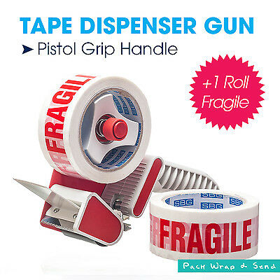 1 x Red Packing Tape Dispenser Gun + 1 x Roll FRAGILE Tape Free 75m x 48mm