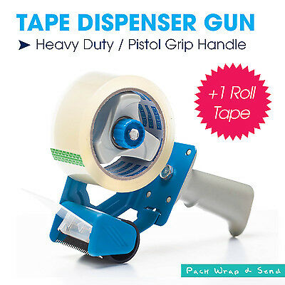 1x Blue Heavy Duty Commerical Packing Tape Dispenser Gun + 1 Roll 75M Tape Free
