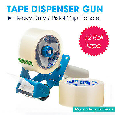 1x Blue Heavy Duty Commerical Packing Tape Dispenser Gun + 2 Roll 75M Tape Free