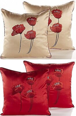 Embroidered Poppies Cushion Covers,Sofa Cushion Covers, Available In 2 Sizes