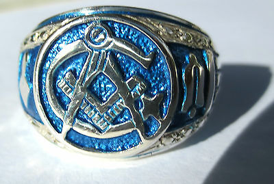 MASONIC RING/ BLUE LODGE STERLING SILVER (WITH WORKING TOOLS)
