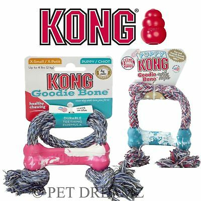 Kong Puppy Goodie Bone On Rope Rubber Teething Toy – 2 Colours
