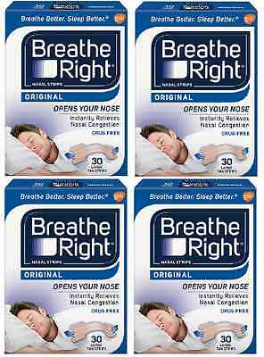 120 BREATHE RIGHT TAN Nasal Strips Large Size Nose Band Stop Snoring Breath NEW
