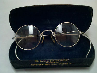 ANTIQUE  EYE GLASSES SPECTACLES 1/10-12 K WHITE GOLD PLATED