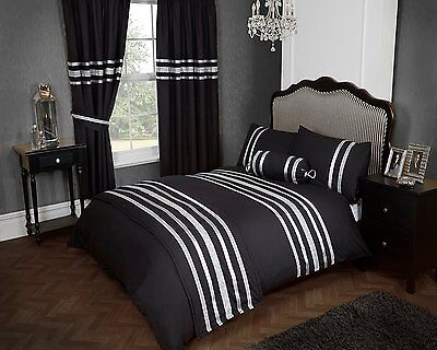 Black & Silver Colour Stylish Lace Diamante Duvet Cover Luxury Beautiful Bedding