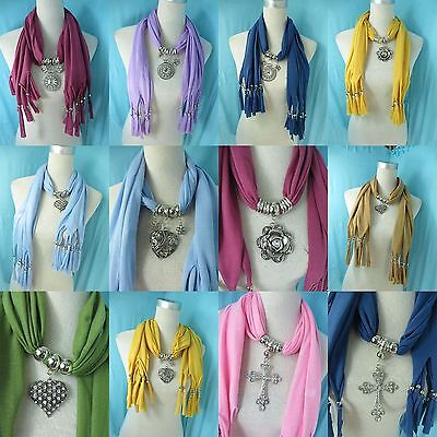 *US SELLER* lot of 5 pendant scarves jewelry scarf rhinestone crystal charm