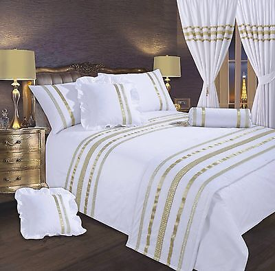 White & Gold Stylish Lace Diamante Sequin Duvet Cover Luxury Beautiful Bedding