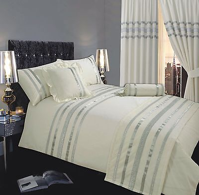 Cream & Silver Stylish Lace Diamante Sequin Duvet Cover Luxury Beautiful Bedding