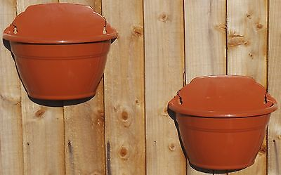 "Set Of Two New Terracotta Plastic 11"" Hanging Wall Basket Planters"