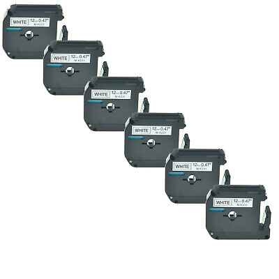 6PK For Brother P-touch PT-65 PT-70 M-K231 M-231 Black on White Label Tape 12mm