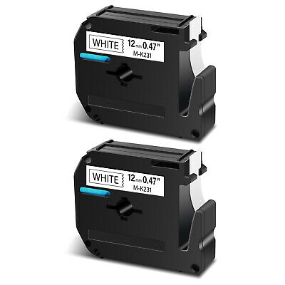 2PK For Brother P-touch PT-65 PT-70 M-K231 M-231 Black on White Label Tape 12mm