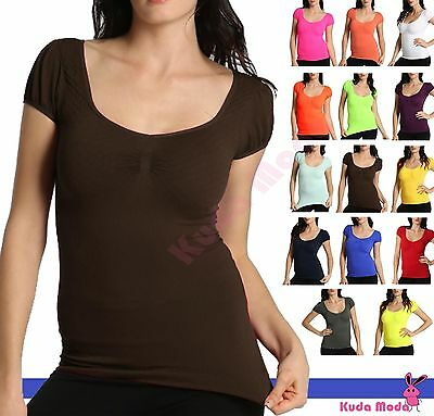 Sexy Women Seamless Low Cut Scoop Neck Short Sleeve Shirt T-Shirt Top Dress