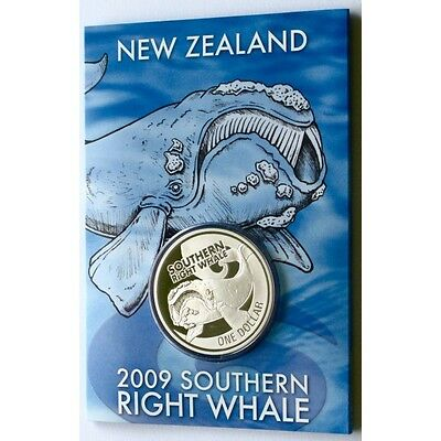 New Zealand -2009- Brilliant Uncirculated 1 OZ Silver Coin -Southern Right Whale