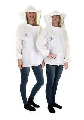 [UK] Buzz Basic Beekeeping White Pullover Round Veil Tunic- Size: L