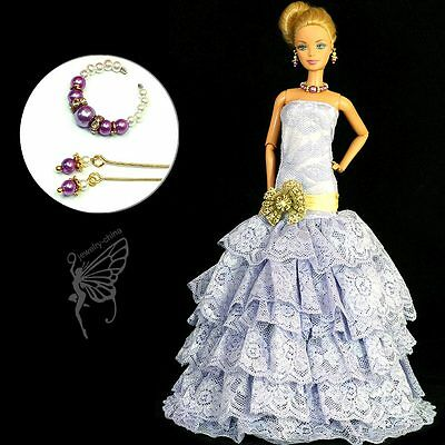 Barbie clothes gown party dress Fashion clothes jewelry for Barbie doll