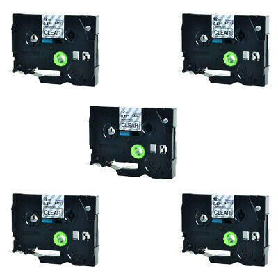 5PK 12mm Black on Clear TZe-131 label tape For Brother P-touch PT-D210 TZ-131