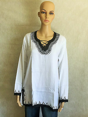 Moroccan Ladies Cotton Tunic Top Shirt Handmade Embroidered Long Sleeves White